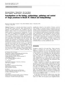 Investigations on the biology, epidemiology, pathology and control of Tunga penetrans in Brazil: IV. Clinical and histopathology