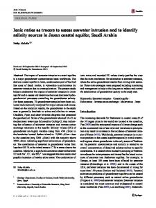 Ionic ratios as tracers to assess seawater intrusion and to identify salinity sources in Jazan coastal aquifer, Saudi Arabia