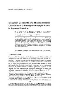 Ionization constants and thermodynamic quantities of 2-mercaptocarboxylic acids in aqueous solution