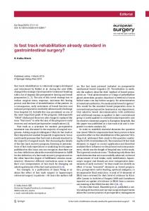 Is fast track rehabilitation already standard in gastrointestinal surgery?