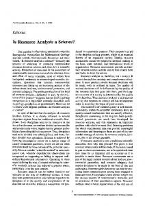 Is resource analysis a science?