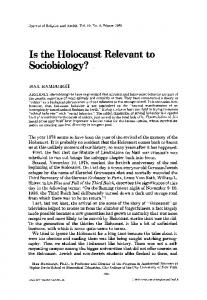 Is the holocaust relevant to sociobiology?