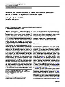 Isolation and characterization of a new Burkholderia pyrrocinia strain JK-SH007 as a potential biocontrol agent