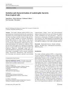 Isolation and characterization of oxalotrophic bacteria from tropical soils