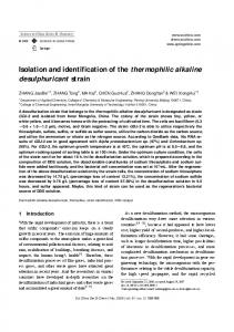 Isolation and identification of the thermophilic alkaline desulphuricant strain