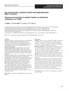 Jaw osteonecrosis in patients treated with bisphosphonates: MDCT evaluation