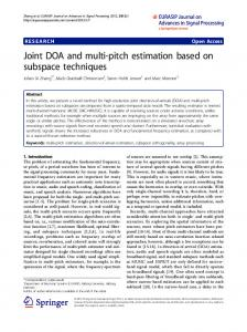 Joint DOA and multi-pitch estimation based on subspace techniques