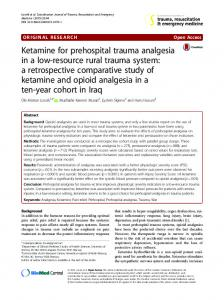 Ketamine for prehospital trauma analgesia in a low-resource rural trauma system: a retrospective comparative study of ketamine and opioid analgesia in a ten-year cohort in Iraq