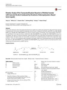 Kinetics Study of the Transesterification Reaction of Methyl Acetate with Isooctyl Alcohol Catalyzed by Dicationic Heteropolyanion-Based Ionic Liquids