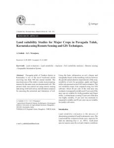 Land suitability studies for major crops in Pavagada taluk, Karnataka using remote sensing and GIS techniques