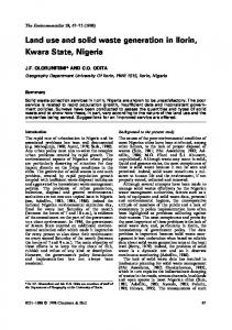 Land use and solid waste generation in Ilorin, Kwara State, Nigeria