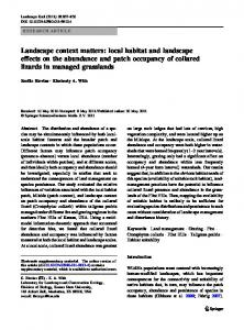 Landscape context matters: local habitat and landscape effects on the abundance and patch occupancy of collared lizards in managed grasslands