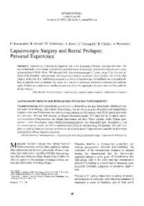 Laparoscopic surgery and rectal prolapse: Personal experience