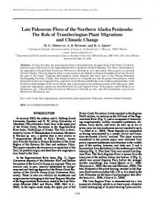 Late paleocene flora of the northern Alaska Peninsula: the role of transberingian plant migrations and climatic change