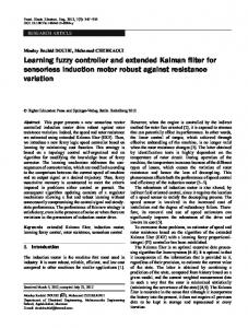 Learning fuzzy controller and extended Kalman filter for sensorless induction motor robust against resistance variation