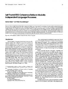 Left Frontal EEG Coherence Reflects Modality Independent Language Processes