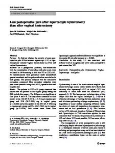 Less postoperative pain after laparoscopic hysterectomy than after vaginal hysterectomy