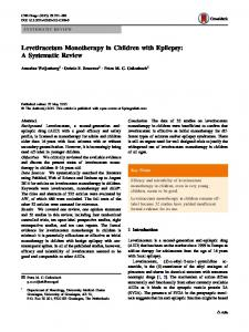 Levetiracetam Monotherapy in Children with Epilepsy: A Systematic Review
