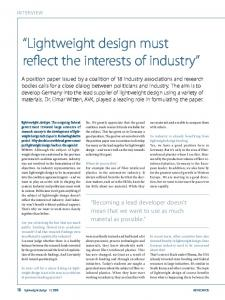 """""""Lightweight design must reflect the interests of industry"""""""