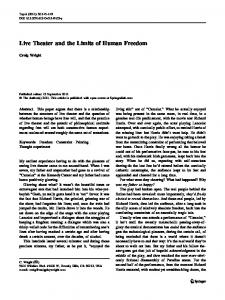 Live Theater and the Limits of Human Freedom
