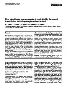 Liver glucokinase gene expression is controlled by the onecut transcription factor hepatocyte nuclear factor-6