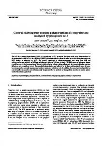 living ring-opening polymerization of ɛ-caprolactone catalyzed by phosphoric acid