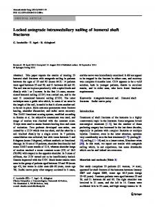Locked antegrade intramedullary nailing of humeral shaft fractures