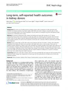 Long-term, self-reported health outcomes in kidney donors