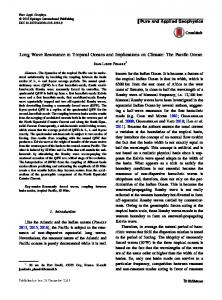 Long Wave Resonance in Tropical Oceans and Implications on Climate: The Pacific Ocean