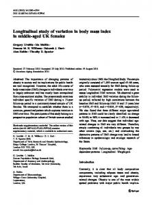 Longitudinal study of variation in body mass index in middle-aged UK females