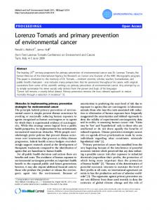 Lorenzo Tomatis and primary prevention of environmental cancer