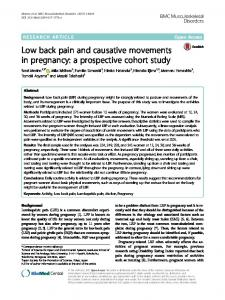 Low back pain and causative movements in pregnancy: a prospective cohort study
