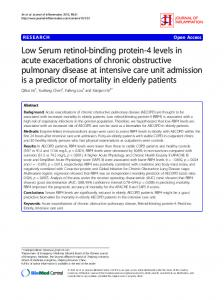Low Serum retinol-binding protein-4 levels in acute exacerbations of chronic obstructive pulmonary disease at intensive care unit admission is a predictor of mortality in elderly patients