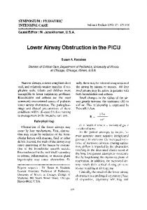 Lower airway obstruction in the PICU
