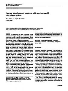 Lumbar spinal stenosis treatment with aperius perclid interspinous system