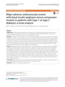 Major adverse cardiovascular events with basal insulin peglispro versus comparator insulins in patients with type 1 or type 2 diabetes: a meta-analysis