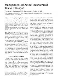 Management of acute incarcerated rectal prolapse