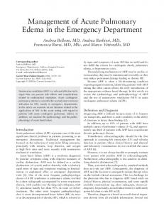 Management of acute pulmonary edema in the emergency department