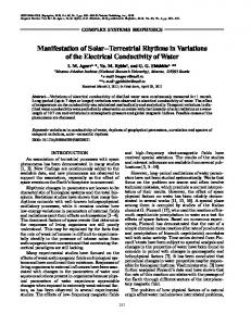 Manifestation of Solar–Terrestrial Rhythms in Variations of the Electrical Conductivity of Water