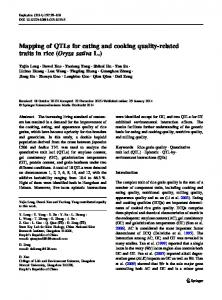 Mapping of QTLs for eating and cooking quality-related traits in rice (Oryza sativa L.)