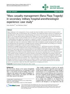 """Mass casualty management (Rana Plaza Tragedy) in secondary military hospital-anesthesiologist experience: case study"""