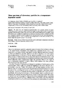 Mass spectrum of elementary particles in a temperature-dependent model