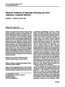 Maternal Predictors of Rejecting Parenting and Early Adolescent Antisocial Behavior