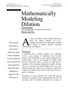 Mathematically Modeling Dilution