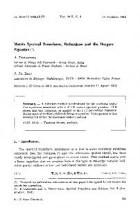 Matrix spectral transform, reductions and the Burgers equation