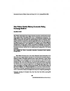 Max Weber: Family History, Economic Policy, Exchange Reform