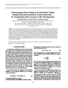 Measurement of the change in partial molar volume during electrode reaction by gravity electrode—II. Examination of the accuracy of the measurement