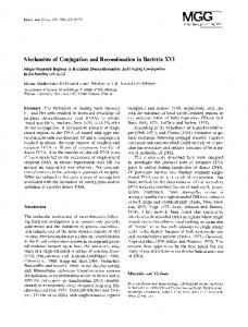 Mechanism of conjugation and recombination in bacteria XVI