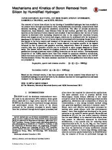 Mechanisms and Kinetics of Boron Removal from Silicon by Humidified Hydrogen