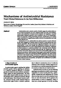 Mechanisms of Antimicrobial Resistance